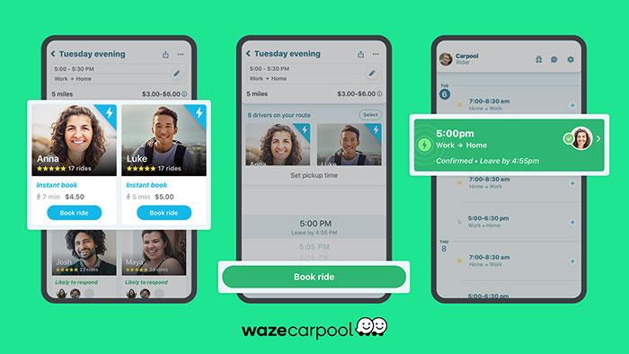 imagens do aplicativo de carona waze carpool